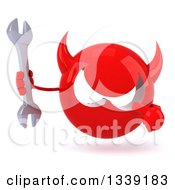 Clipart Of A 3d Red Devil Head Holding And Pointing To A Wrench Royalty Free Illustration
