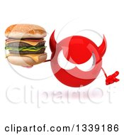 Clipart Of A 3d Red Devil Head Shrugging And Holding A Double Cheeseburger Royalty Free Illustration