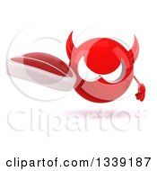 Clipart Of A 3d Red Devil Head Holding A Beef Steak Royalty Free Illustration