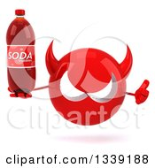Clipart Of A 3d Red Devil Head Giving A Thumb Up And Holding A Soda Bottle Royalty Free Illustration