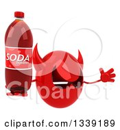 Clipart Of A 3d Red Devil Head Facing Right Jumping And Holding A Soda Bottle Royalty Free Illustration