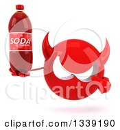 Clipart Of A 3d Red Devil Head Holding And Pointing To A Soda Bottle Royalty Free Illustration