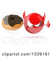 Clipart Of A 3d Red Devil Head Giving A Thumb Up And Holding A Chocolate Glazed Donut Royalty Free Illustration