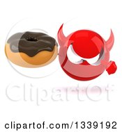 Clipart Of A 3d Red Devil Head Holding And Pointing To A Chocolate Glazed Donut Royalty Free Illustration