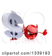Clipart Of A 3d Red Devil Head Holding Up A Thumb And A Dollar Currency Symbol Royalty Free Illustration