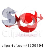 Clipart Of A 3d Red Devil Head Holding Up A Finger And A Dollar Currency Symbol Royalty Free Illustration