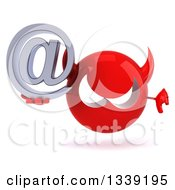 Clipart Of A 3d Red Devil Head Giving A Thumb Down And Holding An Email Arobase At Symbol Royalty Free Illustration