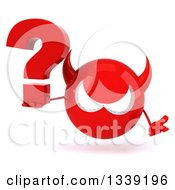 Clipart Of A 3d Red Devil Head Shrugging And Holding A Question Mark Royalty Free Illustration