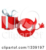 Clipart Of A 3d Red Devil Head Jumping And Holding A Gift Royalty Free Illustration