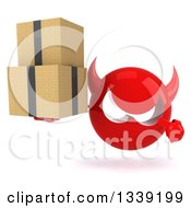 Clipart Of A 3d Red Devil Head Holding And Pointing To Boxes Royalty Free Illustration