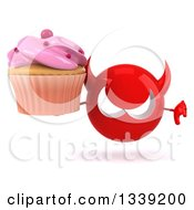 Clipart Of A 3d Red Devil Head Holding A Pink Frosted Cupcake And Giving A Thumb Down Royalty Free Illustration