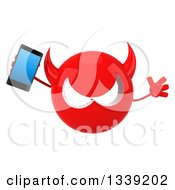 Clipart Of A 3d Red Devil Head Jumping And Holding A Smart Phone Royalty Free Illustration