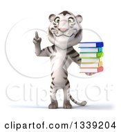 Clipart Of A 3d White Tiger Holding Up A Finger And A Stack Of Books Royalty Free Illustration