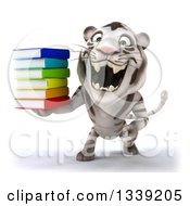 Clipart Of A 3d White Tiger Roaring And Holding A Stack Of Books Royalty Free Illustration