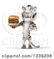 Clipart Of A 3d White Tiger Holding And Presenting A Double Cheeseburger Royalty Free Illustration
