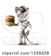 Clipart Of A 3d White Tiger Wearing Sunglasess Facing Left Holding A Double Cheeseburger Royalty Free Illustration