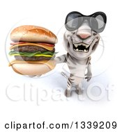 Clipart Of A 3d White Tiger Wearing Sunglasess And Holding Up A Double Cheeseburger Royalty Free Illustration