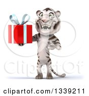 Clipart Of A 3d White Tiger Holding And Presenting A Gift Royalty Free Illustration