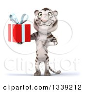 Clipart Of A 3d White Tiger Holding And Pointing To A Gift Royalty Free Illustration