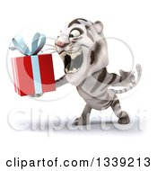 Clipart Of A 3d White Tiger Facing Slightly Left Roaring And Holding A Gift Royalty Free Illustration