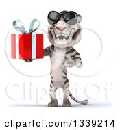 Clipart Of A 3d White Tiger Wearing Sunglasses Holding And Presenting A Gift Royalty Free Illustration