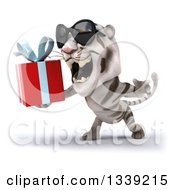 Clipart Of A 3d White Tiger Wearing Sunglasses Facing Slightly Left Roaring And Holding A Gift Royalty Free Illustration