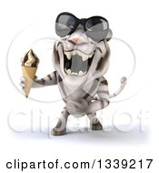 Clipart Of A 3d White Tiger Wearing Sunglasses Roaring And Holding A Waffle Ice Cream Cone Royalty Free Illustration