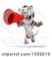 Clipart Of A 3d White Tiger Sprinting And Announcing With A Megaphone Royalty Free Illustration