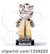 Clipart Of A 3d White Tiger Moving Boxes On A Dolly Royalty Free Illustration