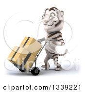 Clipart Of A 3d White Tiger Walking Slightly To The Left And Moving Boxes On A Dolly Royalty Free Illustration
