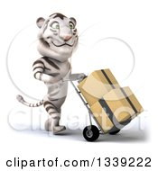 Clipart Of A 3d White Tiger Facing Right Moving Boxes On A Dolly Royalty Free Illustration