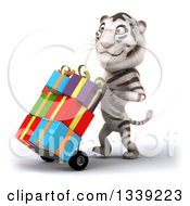 Clipart Of A 3d White Tiger Walking Slightly To The Left And Pushing Gifts On A Dolly Royalty Free Illustration