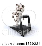 Clipart Of A 3d White Tiger Facing Slightly Right Running On A Treadmill Royalty Free Illustration