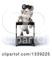 Clipart Of A 3d White Tiger Wearing Sunglasses And Sprinting On A Treadmill Royalty Free Illustration