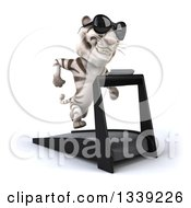 Clipart Of A 3d White Tiger Wearing Sunglasses Facing Slightly Right Running On A Treadmill Royalty Free Illustration