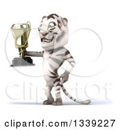 Clipart Of A 3d White Tiger Facing Left And Holding A Trophy Royalty Free Illustration