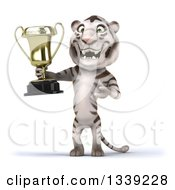Clipart Of A 3d White Tiger Holding And Presenting A Trophy Royalty Free Illustration