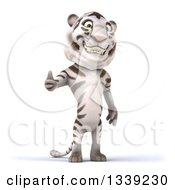 Clipart Of A 3d White Tiger Giving A Thumb Up Royalty Free Illustration