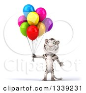 Clipart Of A 3d White Tiger Welcoming And Holding Party Balloons Royalty Free Illustration