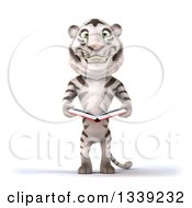 Clipart Of A 3d White Tiger Holding An Open Book Royalty Free Illustration