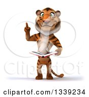 Clipart Of A 3d Tiger Holding Up A Finger And An Open Book Royalty Free Illustration