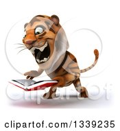 Clipart Of A 3d Tiger Reading And Roaring Over A Book Royalty Free Illustration