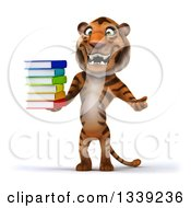 Clipart Of A 3d Tiger Shrugging And Holding A Stack Of Books Royalty Free Illustration