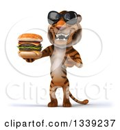 Clipart Of A 3d Tiger Wearing Sunglasses And Presenting A Double Cheeseburger Royalty Free Illustration