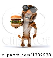 Clipart Of A 3d Tiger Wearing Sunglasses And Walking With A Double Cheeseburger Royalty Free Illustration