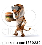 Clipart Of A 3d Tiger Wearing Sunglasses Walking Slightly To The Left And Holding A Double Cheeseburger Royalty Free Illustration