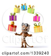 Clipart Of A 3d Tiger Wearing Sunglasses Facing Slightly Left And Juggling Gifts Royalty Free Illustration