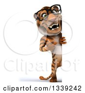 Clipart Of A 3d Full Length Bespectacled Tiger Pointing Around A Sign Royalty Free Illustration