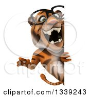 Clipart Of A 3d Bespectacled Tiger Roaring Around A Sign Royalty Free Illustration