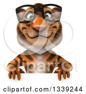 Clipart Of A 3d Bespectacled Tiger Over A Sign Royalty Free Illustration